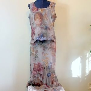 Johnny Was 3 Pc Maxi Dress M Watercolor Tan Floral